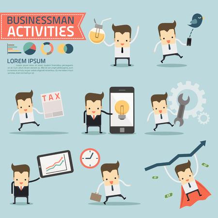 set of businessman activities Vector