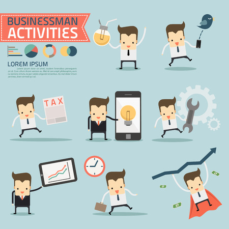set of businessman activities Banco de Imagens - 30025802