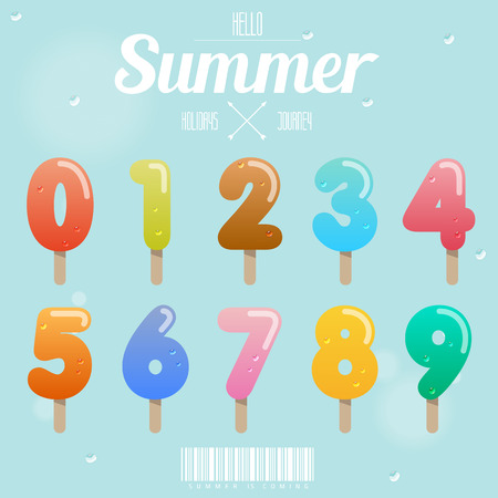 set of ice cream number on summer concept Vector
