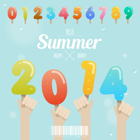 set of ice cream number with hand up on summer 2014 concept Vector