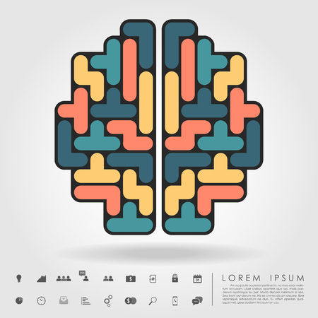 brain from tetris blocks with business icon vector