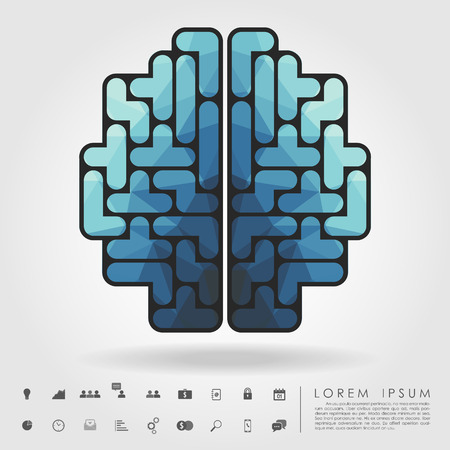 tetris: polygon brain from tetris blocks with business icon vector
