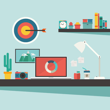 work desk and accessories on flat design concept vector Vector