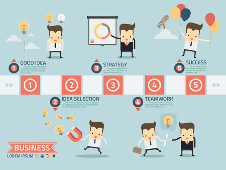 5 step for success business concept vector