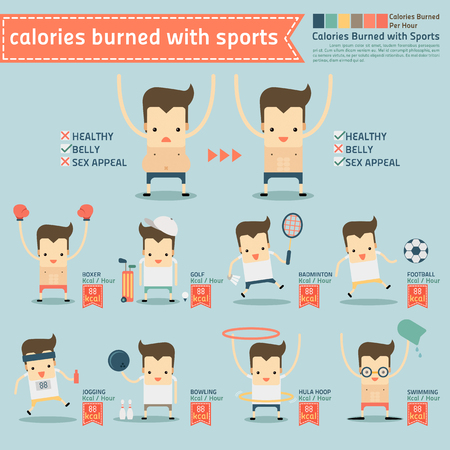 calories burned with sports infographics vector Illustration