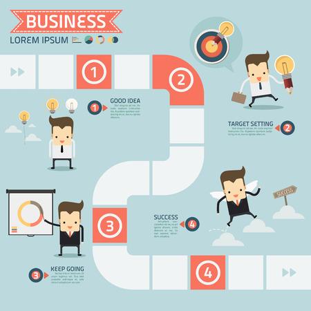 paso para el éxito concepto de negocio vector