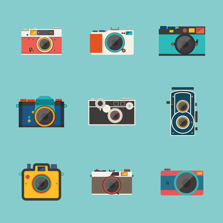 a picture: vintage camera icon vector Illustration