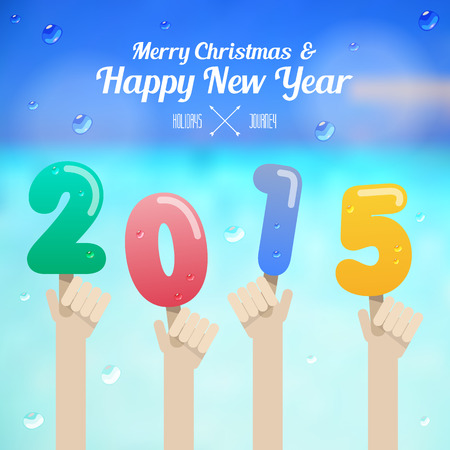 ice cream number with hand up on merry christmas and happy new year 2015 concept  Illustration