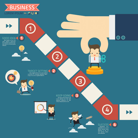 business game: wind up doll in step for success business game concept