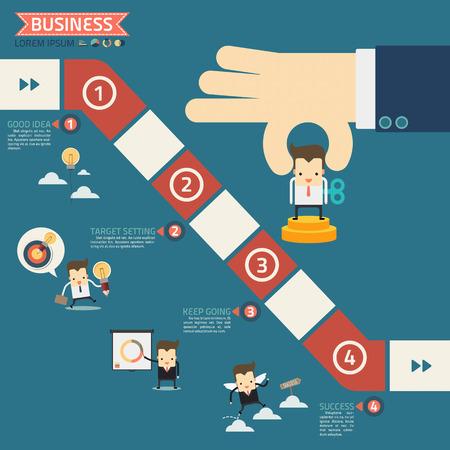 eingereicht Puppe in Schritt für den Erfolg Business-Spielkonzept