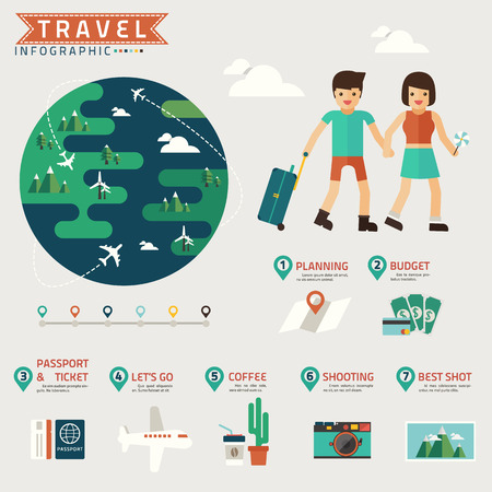 travel infographic with minimal world vector Vector
