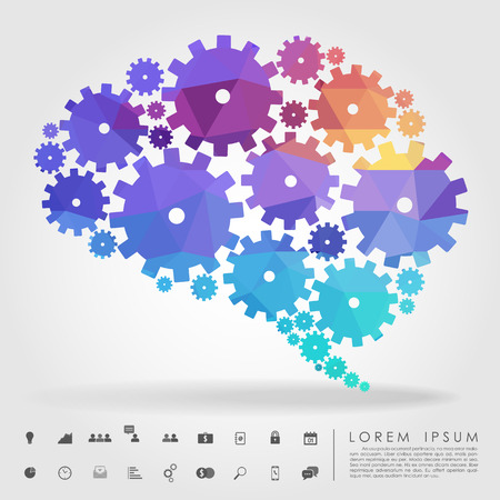 brain: brain gear polygon with business icon vector