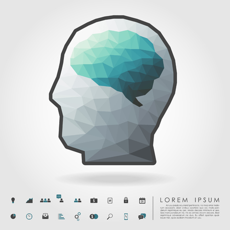polygon brain and human head with business icon vector
