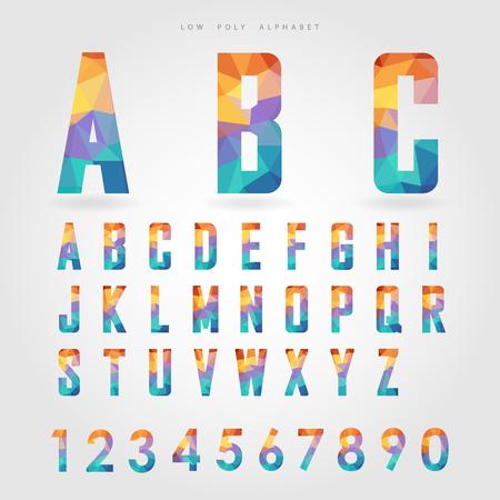 les chiffres: faible alphabet poly et le numéro sur le concept vecteur polygone