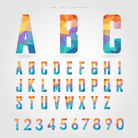 low poly alphabet and number on polygon concept vector