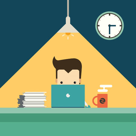 workload: businessman working overtime late night in office vector