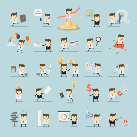 set goals: set of businessman activities vector