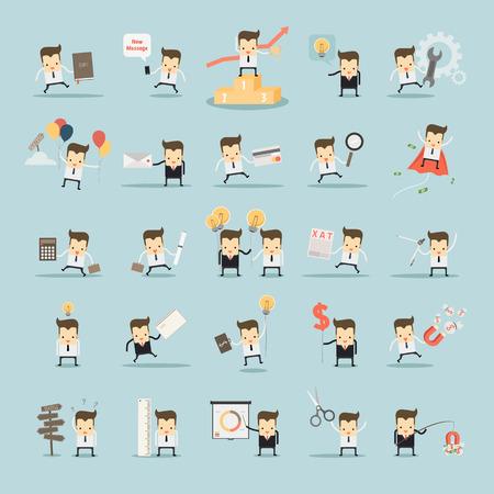 set van zakenman activiteiten vector Stock Illustratie