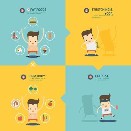 step to weight loss infographic vector Ilustração