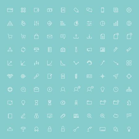 100 Business icone delle linee minimal vettore Archivio Fotografico - 39589827