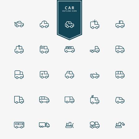 small car: 25 car and transportation minimal line icons vector Illustration