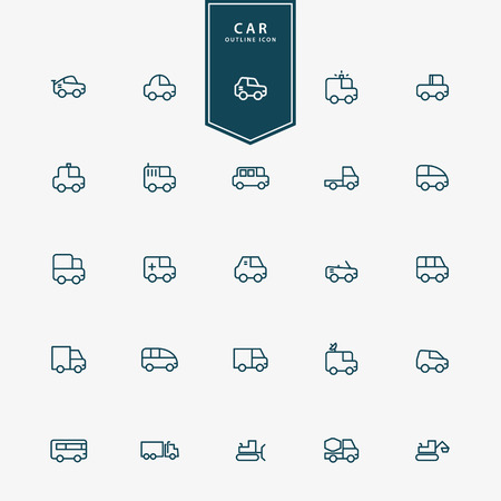 25 car and transportation minimal line icons vector Illustration