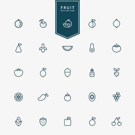 25 fruit minimal line icons vector 向量圖像