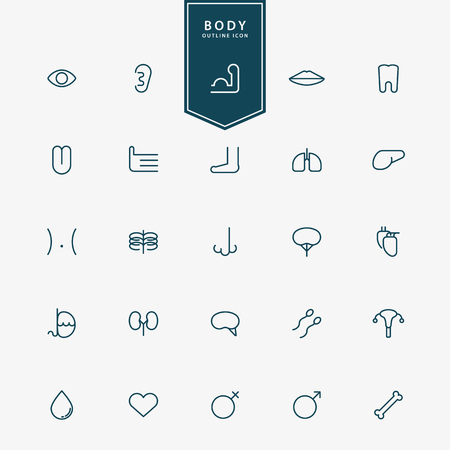 cancer foot: 25 human body minimal line icons vector