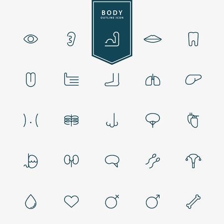 large intestine cancer: 25 human body minimal line icons vector