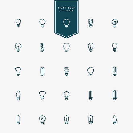 thin bulb: 25 idea light bulb minimal line icons vector