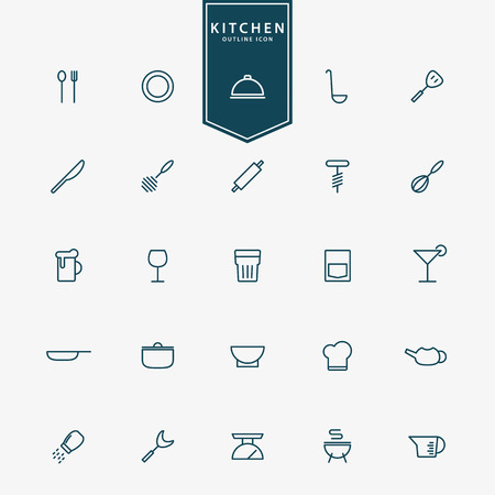 coffee set: 25 kitchen accessories minimal line icons vector Illustration