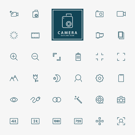 evaluative: 32 camera and video minimal line icons vector Illustration