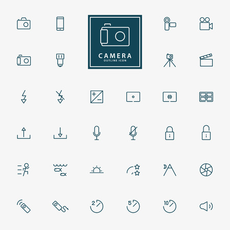 evaluative: 32 camera and video minimal outline icons vector Illustration