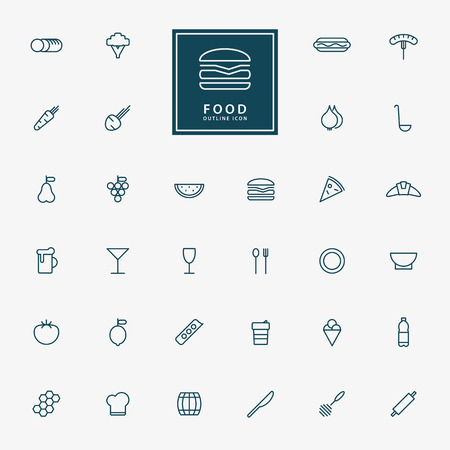 32 food and beverage minimal line icons vector