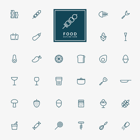32 food and beverage minimal outline icons vector Ilustracja