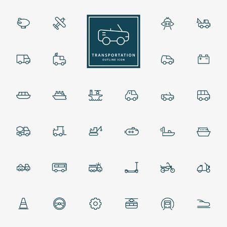 32: 32 transportation line icons vector
