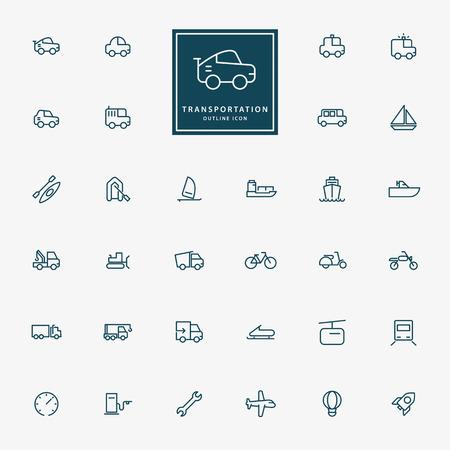 32 mezzi di trasporto icone delle linee minimal vettore Archivio Fotografico - 39590127