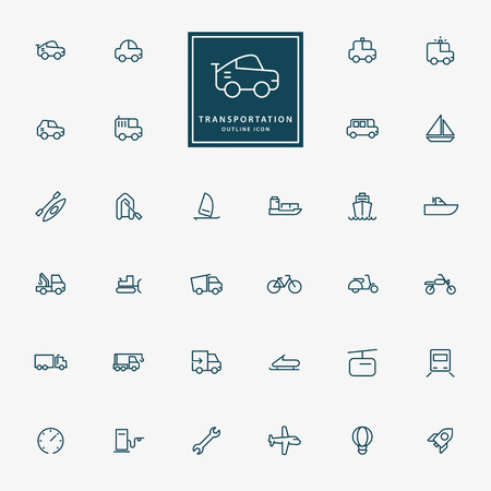 32 transportation minimal line icons vector Vector