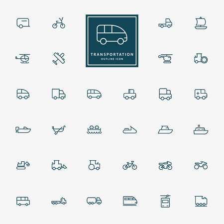 32 transportation minimal outline icons vector Vector