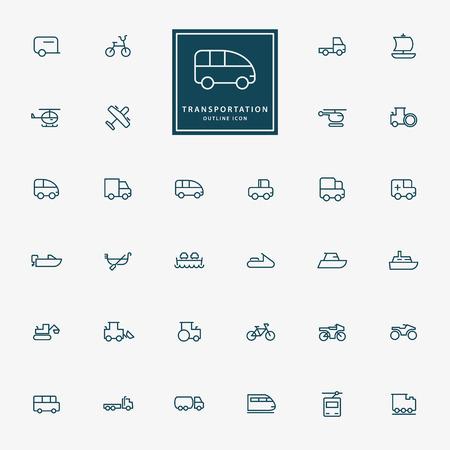 32: 32 transportation minimal outline icons vector Illustration