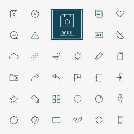 32 web line icons vector