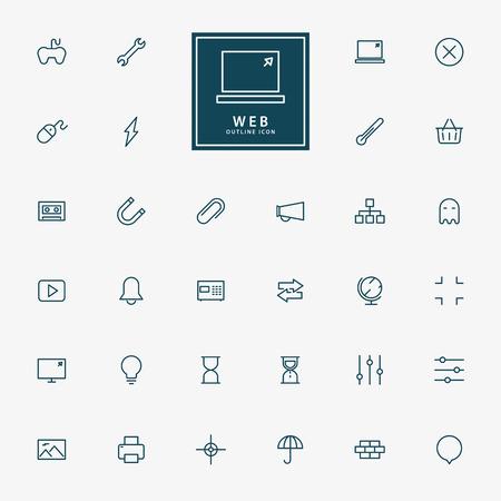 32 web icone delle linee minimal vettore Archivio Fotografico - 39590137