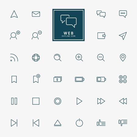 32 web icone minimo contorno vettoriale Archivio Fotografico - 39590139