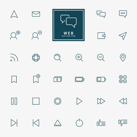 communication icon: 32 web minimal outline icons vector Illustration