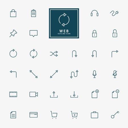 32 web contorno icone vettoriali Archivio Fotografico - 39590140