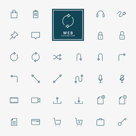 32 web outline icons vector