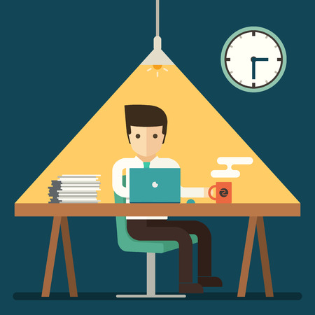 desk light: businessman working overtime late night in office vector