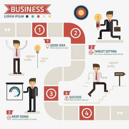 business success: step for success business concept vector