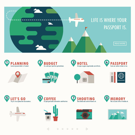 communication tools: travel and vacation banner with infographic vector