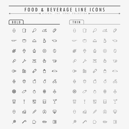 food and beverage: food and beverage outline icons on bold and thin line concept vector Illustration